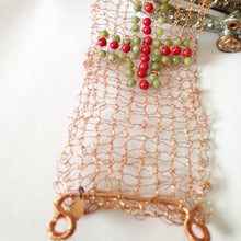 Load image into Gallery viewer, Knitted copper bracelet with cross motif by Buckaroo Bling