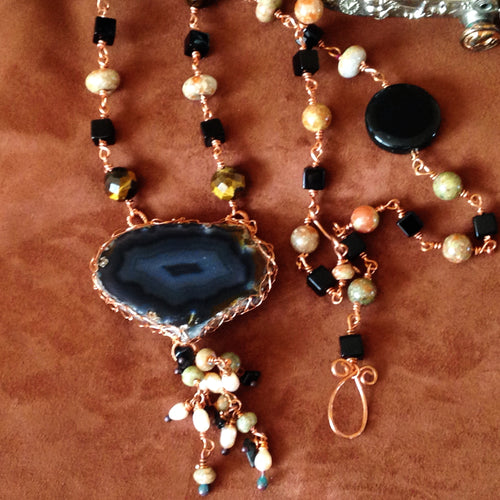 One of a kind agate pendant necklace by Buckaroo Bling