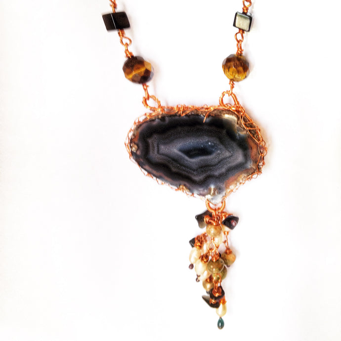 Long agate pendant necklace by Buckaroo Bling