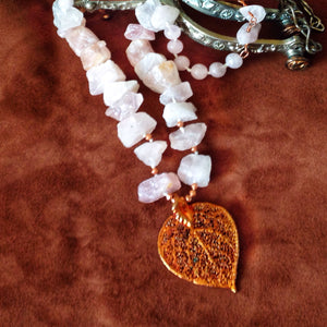 Rose quartz and copper aspen leaf necklace by Buckaroo Bling