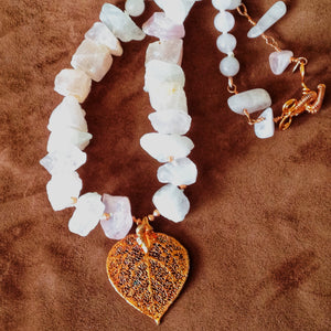 Aspen Leaf and Rose Quartz Necklace by Buckaroo Bling