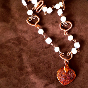 Pearl, copper, rose quartz and natural aspen leaf necklace by Buckaroo Bling