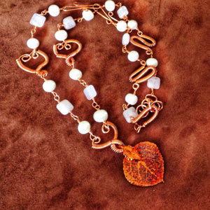 Copper plated natural aspen leaf necklace, pearls, rose quartz - Buckaroo Bling