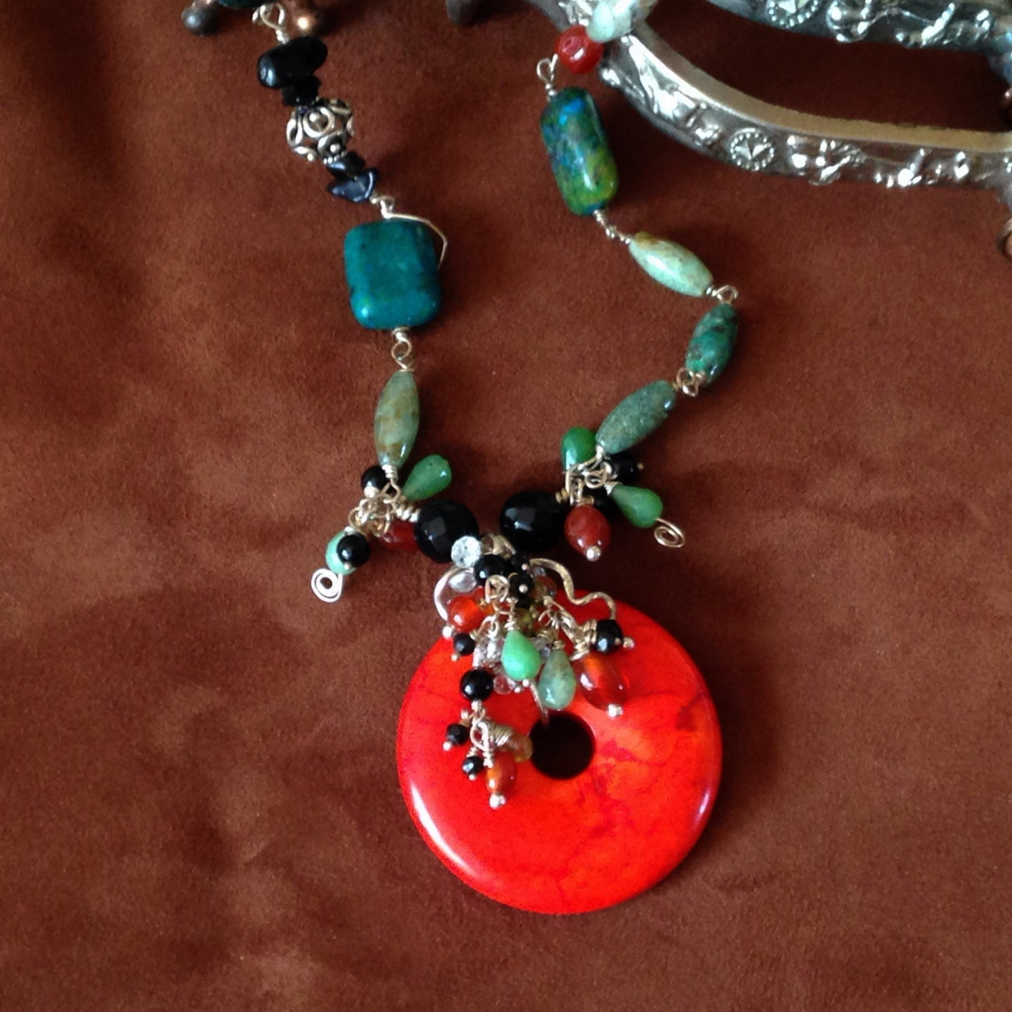 Red & green statement necklace, sterling silver, mixed gemstones - Buckaroo Bling