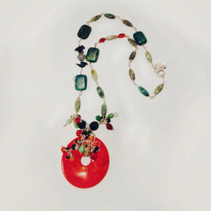 Red & green one-off necklace, sterling silver, mixed gemstones - Buckaroo Bling