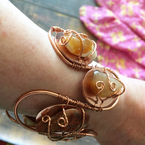 Artistic copper cuff bracelet with mixed gemstone nuggets