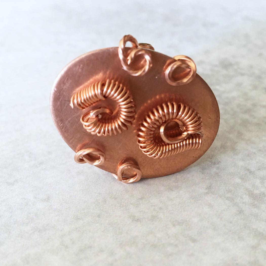 Copper Cocktail Ring with Swirls