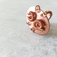 Load image into Gallery viewer, Detail of copper cocktail ring with swirls