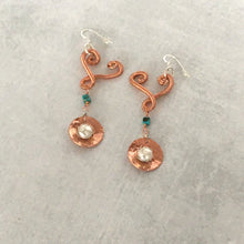Load image into Gallery viewer, Heart drop earrings with turquoise and large caged pearls