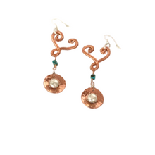 Load image into Gallery viewer, Heart Drop Earrings With Caged Freshwater Pearls