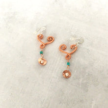Load image into Gallery viewer, Heart drop earrings with turquoise and mini caged pearls