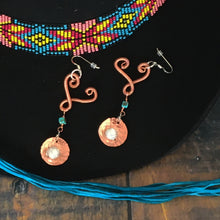 Load image into Gallery viewer, Heart drop earrings with Kingman turquoise and freshwater pearls