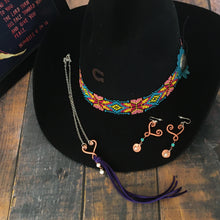 Load image into Gallery viewer, Heart pendant choker necklace with purple leather fringe plus matching earrings