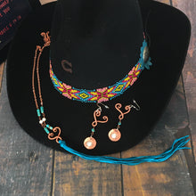 Load image into Gallery viewer, Limited turquoise leather fringe heart necklace with Kingman turquoise and pearls plus matching earrings