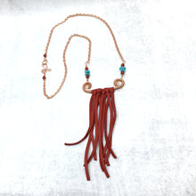 Load image into Gallery viewer, Bohemian leather fringe necklace in red by Buckaroo Bling