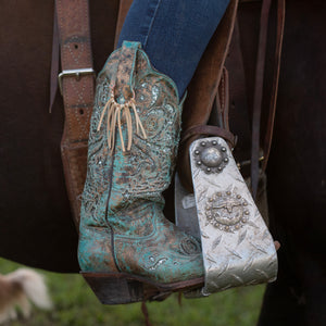 Boot Bling Cowgirl Boot Fringe Accessories in Buckskin on turquoise boots