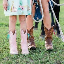 Load image into Gallery viewer, Boot Bling Jr Fringe Accessories for Children's Cowgirl Boots in turquoise on pink boots and hot pink on brown boots