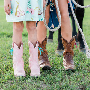 Boot Bling Jr Fringe Accessories for Children's Cowgirl Boots in turquoise on pink boots and hot pink on brown boots