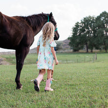 Load image into Gallery viewer, Boot Bling Jr Fringe Accessories for Children's Cowgirl Boots on a girl walking a horse