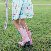 Load image into Gallery viewer, Boot Bling Jr Fringe Accessories for Children's Cowgirl Boots in turquoise on pale pink boots