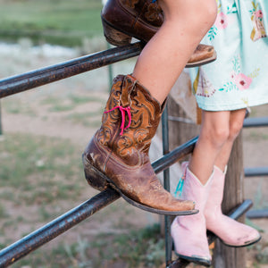 Boot Bling Jr Fringe Accessories for Children's Cowgirl Boots in pink and turquoise