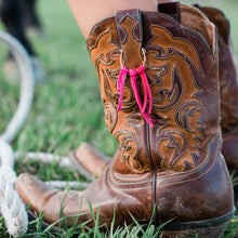 Load image into Gallery viewer, Hot pink children's fringe accesories for cowgirl boots on a set of brown boots