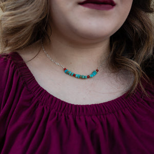 Choker length turquoise and carnelian layering necklace