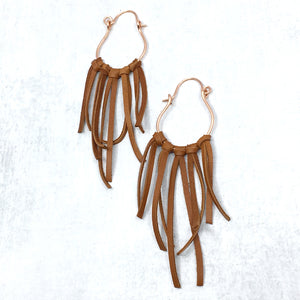 Boot Bling deer leather fringe accessories for cowgirl boots in saddle tan