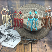 Load image into Gallery viewer, Dream Catcher Earrings with turquoise and deer leather fringe by Buckaroo Bling