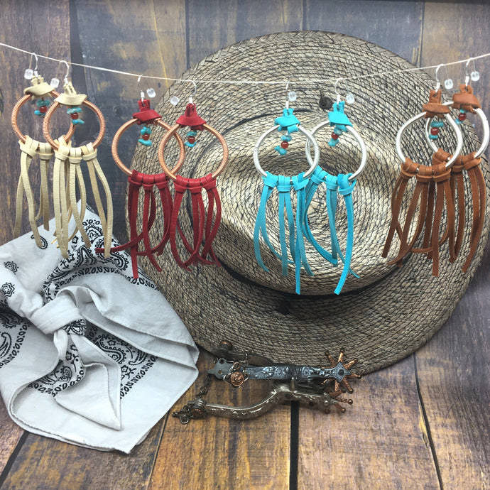 Dream Catcher Earrings with turquoise and deer leather fringe by Buckaroo Bling