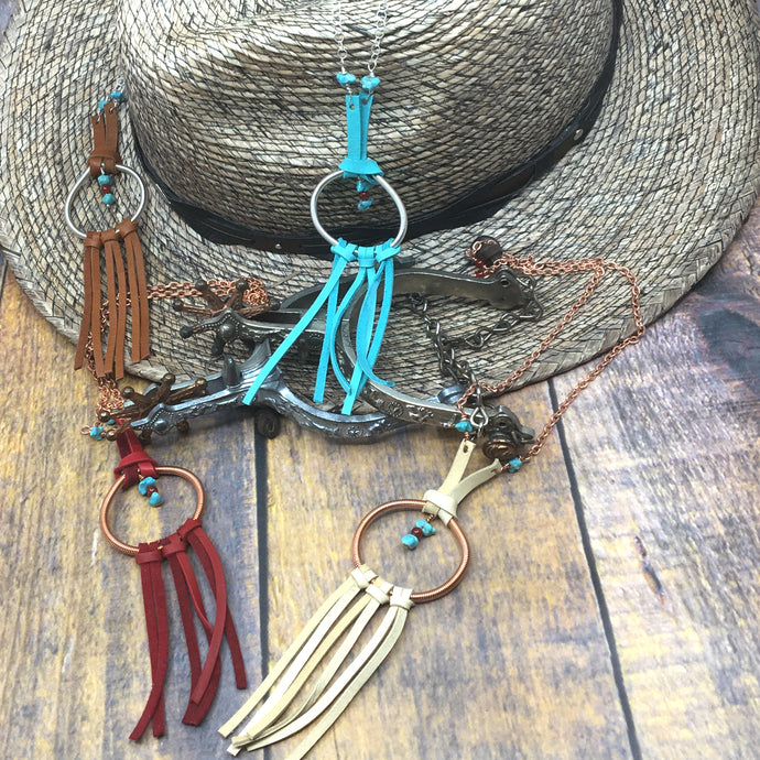 Dream Catcher Necklace with turquoise and deer leather fringe by Buckaroo Bling