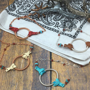 Dreamer Adjustable Bracelet with turquoise and deer leather by Buckaroo Bling