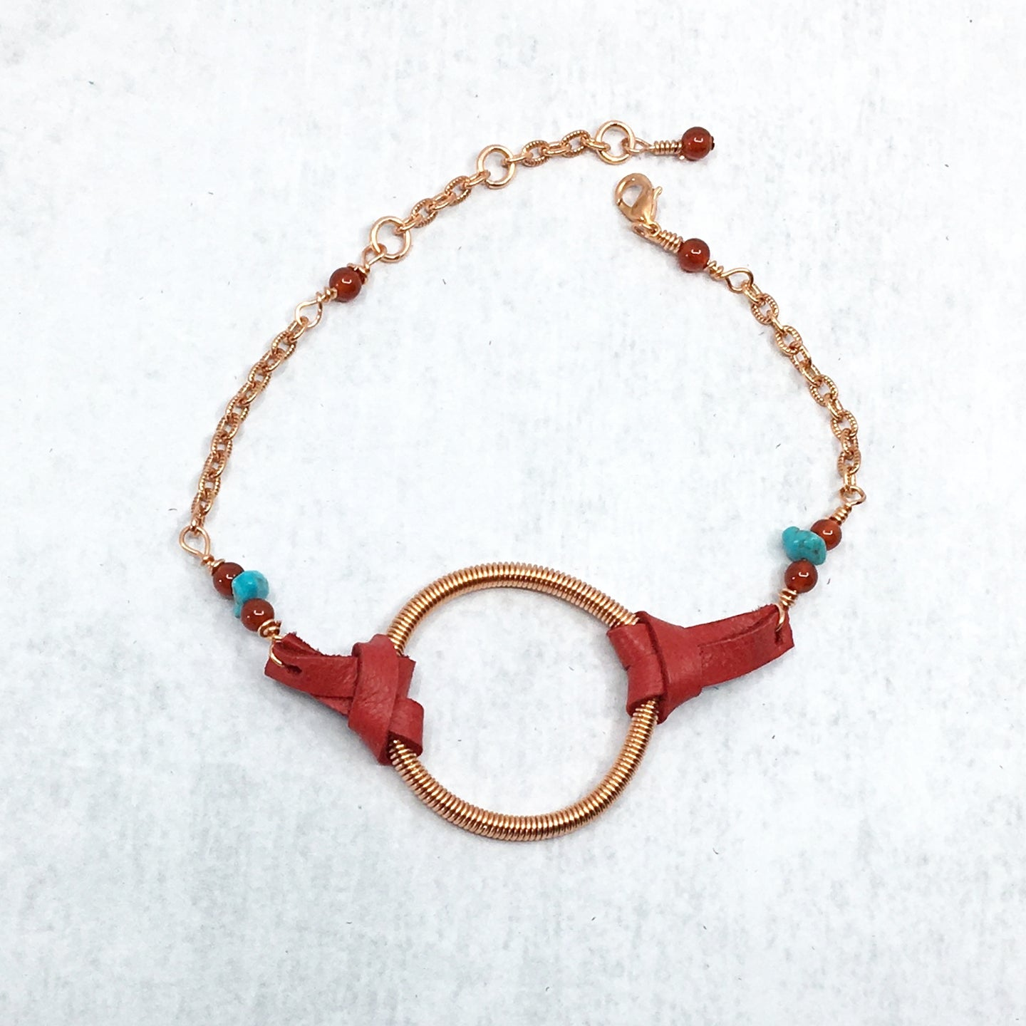 Dreamer Adjustable Bracelet with turquoise and red deer leather by Buckaroo Bling