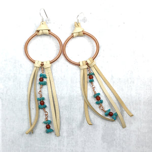 Dreamer Long Earrings - turquoise, buckskin deer leather fringe by Buckaroo Bling