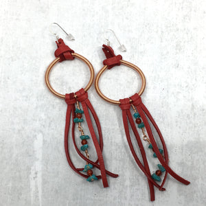 Dreamer Long Earrings - turquoise, red deer leather fringe by Buckaroo Bling
