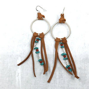 Dreamer Long Earrings - turquoise, saddle tan deer leather fringe Buckaroo Bling