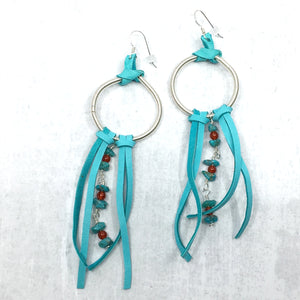 Dreamer Long Earrings - turquoise, turquoise deer leather fringe Buckaroo Bling