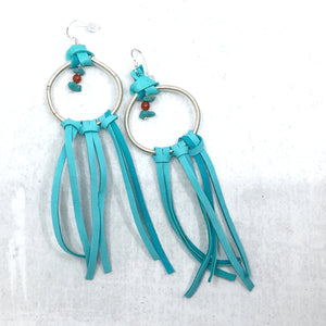 Dream Catcher Earrings with turquoise deer leather fringe by Buckaroo Bling