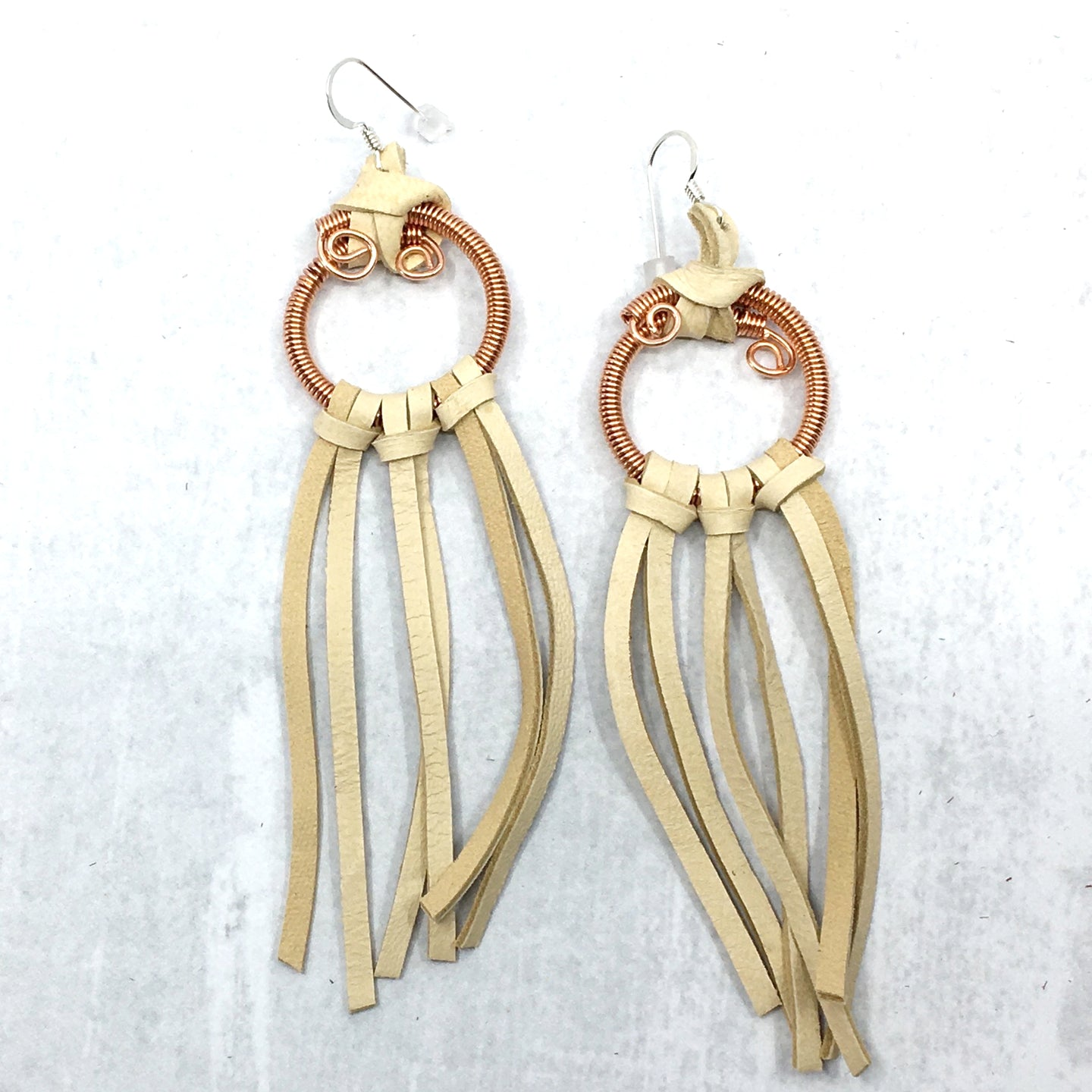 Effortless Dream buckskin deer leather fringe earrings by Buckaroo Bling