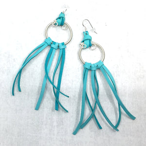 Effortless Dream turquoise deer leather fringe earrings by Buckaroo Bling
