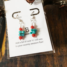 Load image into Gallery viewer, Delicate Campitos Turquoise and Sterling Silver Drop Earrings by Buckaroo Bling
