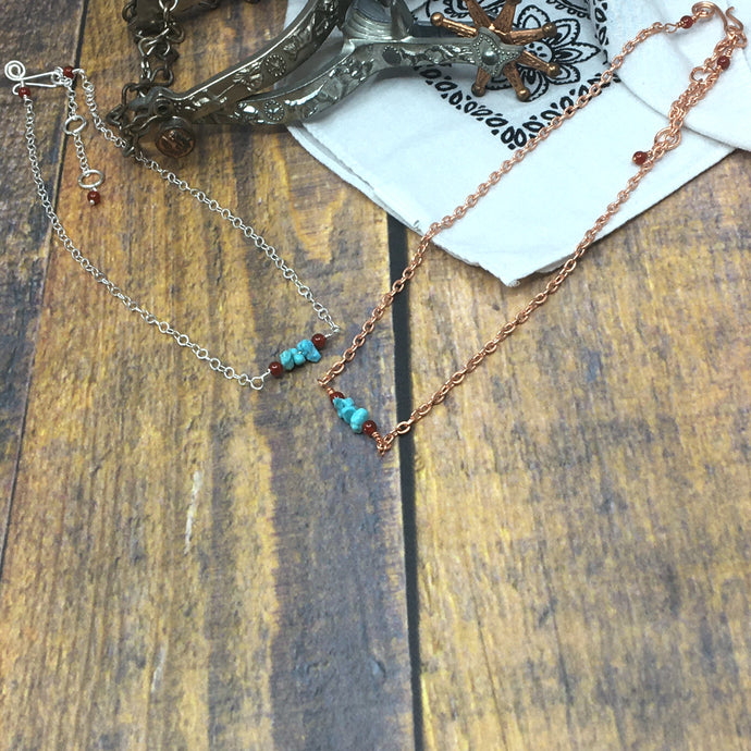 Short Adjustable Necklace with Campitos Turquoise - Buckaroo Bling