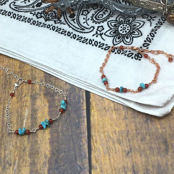 Campitos Turquoise, Carnelian & Chain Stacking Bracelet by Buckaroo Bling
