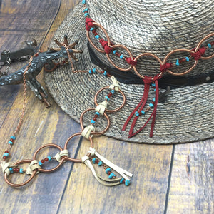 Turquoise, Deer Leather and Coiled Copper Statement Necklace by Buckaroo Bling