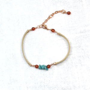 Stacking narrow buckskin deer leather and turquoise bracelet, Buckaroo Bling