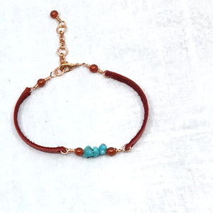 Stacking narrow red deer leather and turquoise bracelet by Buckaroo Bling