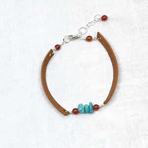 Stacking narrow saddle tan deer leather and turquoise bracelet, Buckaroo Bling