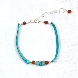 Stacking narrow turquoise deer leather and turquoise bracelet, Buckaroo Bling