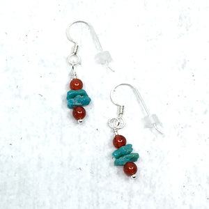 Simple Campitos Turquoise and Sterling Silver Drop Earrings by Buckaroo Bling