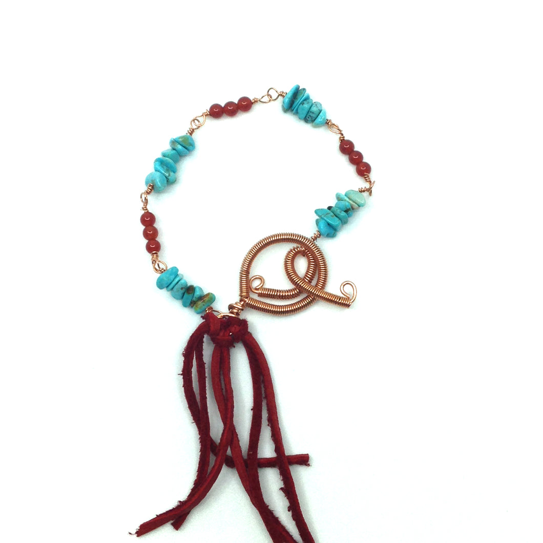 DCG001-C copper and turquoise dream catcher bracelet